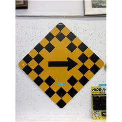 """Metal """"Right Turn"""" Road Sign"""