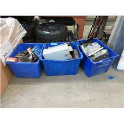 3 Bins of Assorted Tools, Toys and More