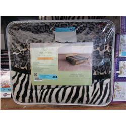 2 New Queen Size Animal Stripe Sherpa Blankets