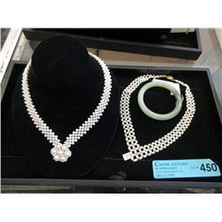 Jade Bangle Bracelet and 2 New Pearl Necklaces