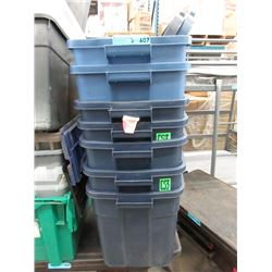 7 Rubbermaid Totes with 2 Lids