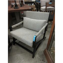 Upholstered Armchair with Wood Frame
