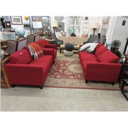 New 3 Piece Red Fabric Upholstered Sofa Set