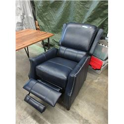 New Amax Navy Leather Push Back Recliner
