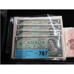 Four 1967 Canadian Centennial $1 Bills