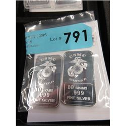 "Two .999 Fine Silver 10 Gram ""USMC"" Art Bars"