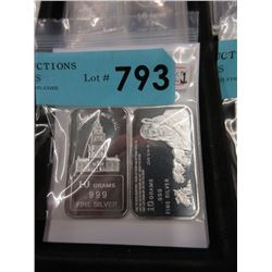 Two .999 Fine Silver 10 Gram Art Bars