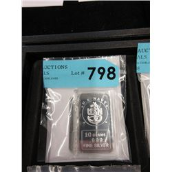 "Two .999 Fine Silver 10 Gram ""USN"" Art Bars"