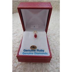 14 KT YELLOW GOLD 6 X 4 MM GENUINE RUBY & DIAMAND PENDANT