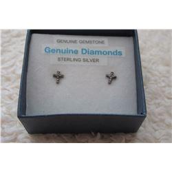STERLING SILVER DIAMOND CROSS EARRINGS