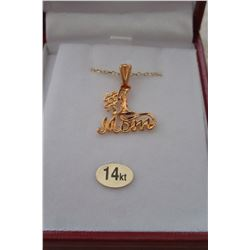 14 KT YELLOW GOLD #1 MOM PENDANT WITH STERLING SILVER GOLD PLATED CHAIN