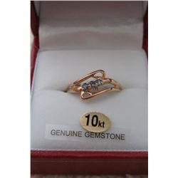 10 KT YELLOW GOLD GENUINE TANZANITE & SAPPHIRE RING