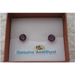 10 KT YELLOW GOLD 6 MM GENUINE AMETHYST STUD EARRINGS (2 CTS)