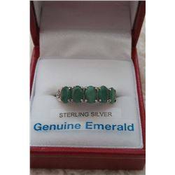 STERLING SILVER GENUINE EMERALD RING