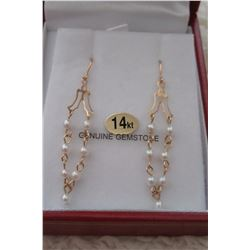 14 KT YELLOW GOLD GENUINE FRESHWATER PEARL EARRINGS