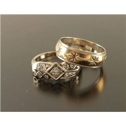 Diamond & Gold Ring & Gold Band