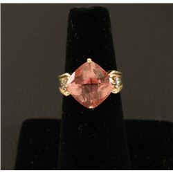 Fantastic Vivid Pink Topaz & Diamond Ring