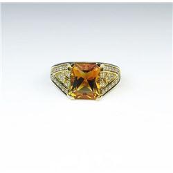 Sophisticated Custom Made Citrine & Diamond Ring