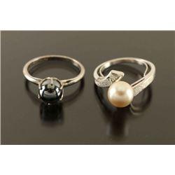 Lot of 2 Sterling & Pearl Rings