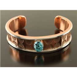 Hammered Copper Turquoise Big Boy Cuff