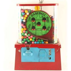 Vintage Baseball Game Gumball Machine