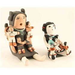Lot of 2 Pottery Storyteller Dolls