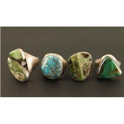 Lot of 4 Sterling & Stone Mens Rings
