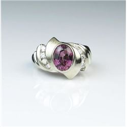 Stylish Purple Garnet & Diamond Ring