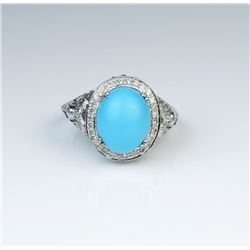 Gorgeous Persian Turquoise & Diamond Ring