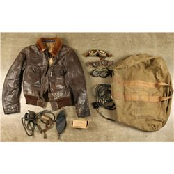 Aviator's Kit Bag with Military Items