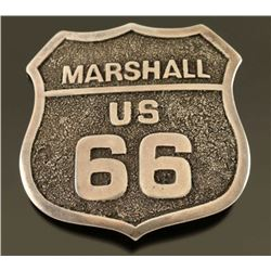 Sterling Silver Route 66 US Marshall Badge