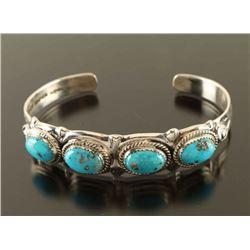 Turquoise & Silver Native American Cuff