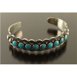 Old Pawn Navajo Turquoise & Silver Cuff