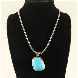 Blue Turquoise Navajo Silver Pendant
