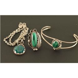 Malachite & Sterling Jewelry Set