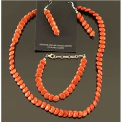 Native American Coral Bead Necklace Set