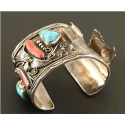 Turquoise & Coral Sterling Watch Cuff