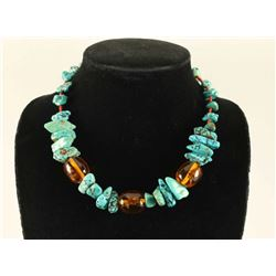 Turquoise Nugget & Amber Necklace