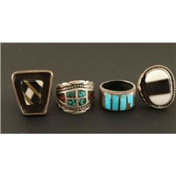 Lot of 4 Sterling Silver Rings