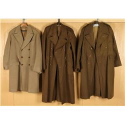 Lot of 3 British Uniform Wool Overcoats