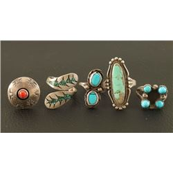 Lot of Turquoise & Sterling Silver Rings