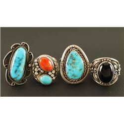 Lot of 4 Turquoise Rings