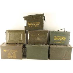 Large Lot of 7 Empty Ammo Cans
