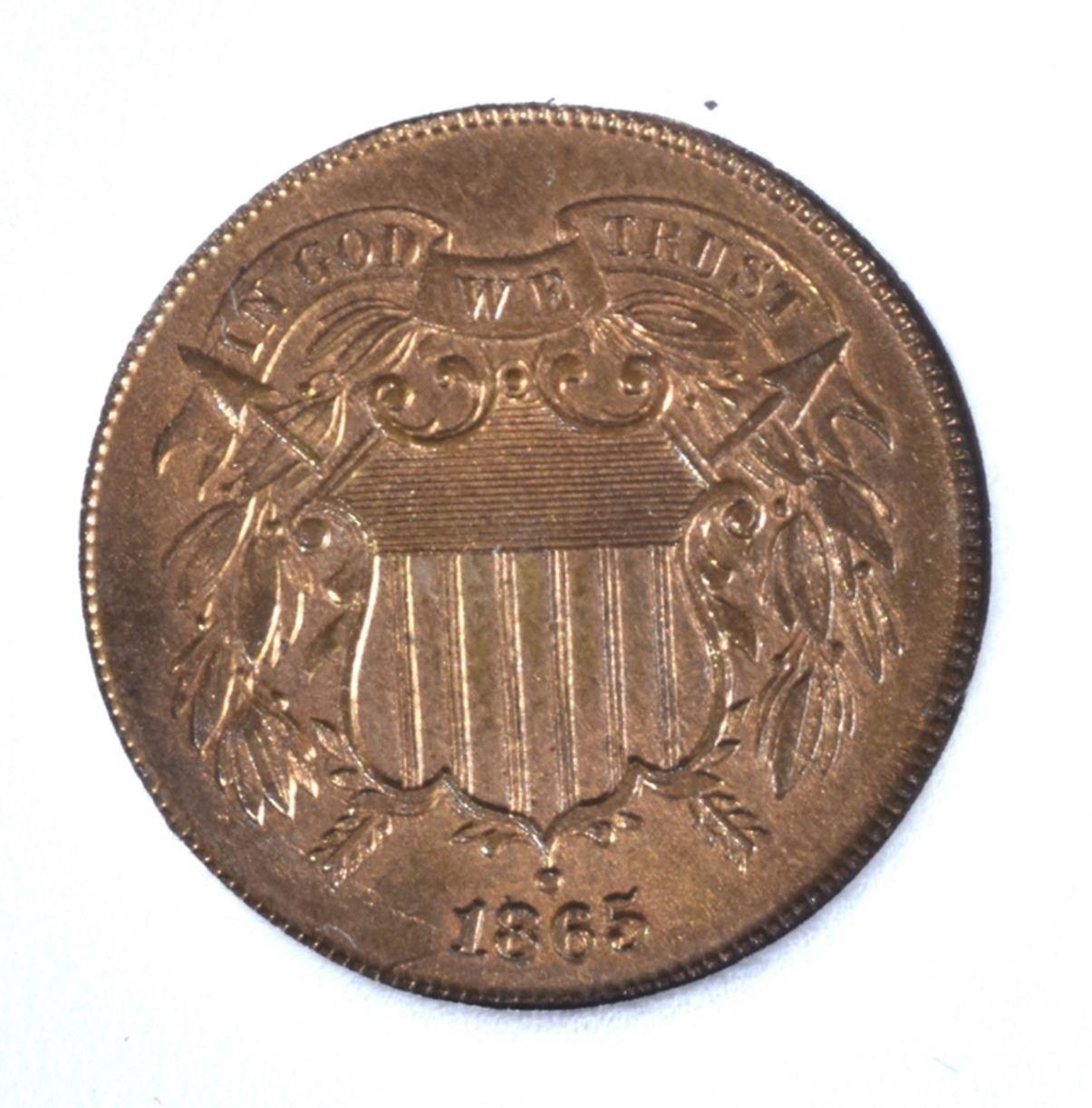 Image 2 1865 TWO CENT PIECE CCGS GEM BU RD