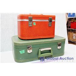 (2) Vintage Suitcases (Green/Orange)