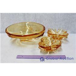 Set of (3) Art Glass Bowls (Amber/Yellow)