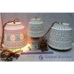 Set Of (3) 70's Retro Gem Lamps (Working)