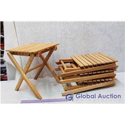 "(4) Small Wooden Folding Tables (13.5""x 11.5"" x 11.5"")"