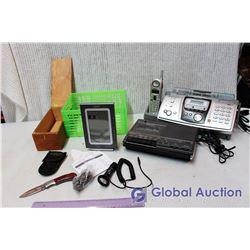 Lot of Vintage Tech (Fax/Answering Machine, Alarm Clock, Cassette Recorder)