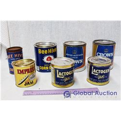(7) Vintage Tins (Beehive Golden Corn Syrup, Lactogen, Empire)